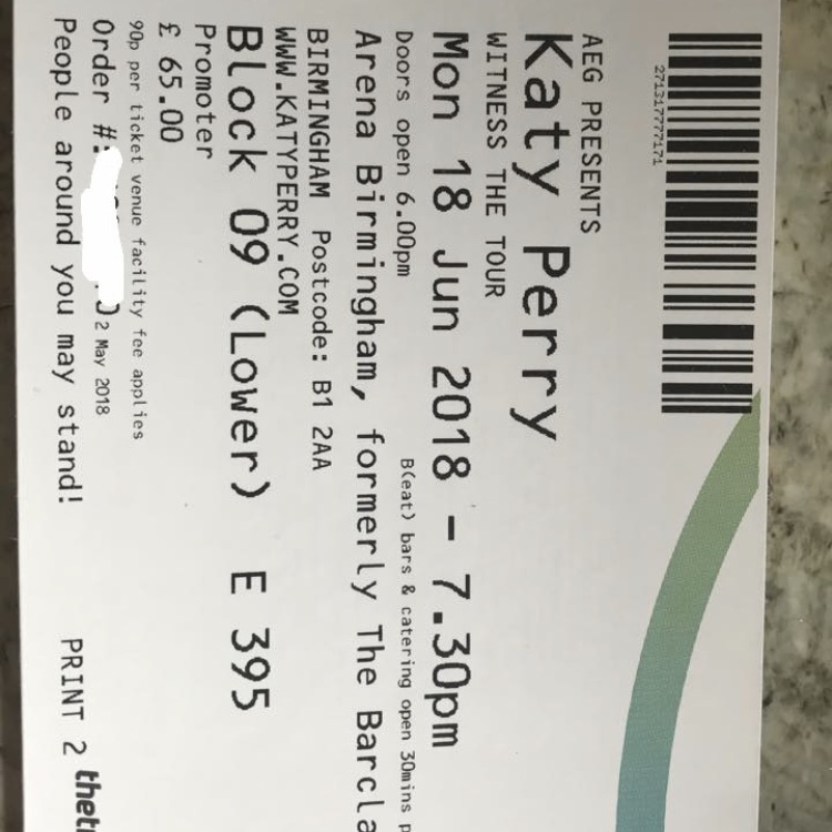 2x Katy Perry tickets
