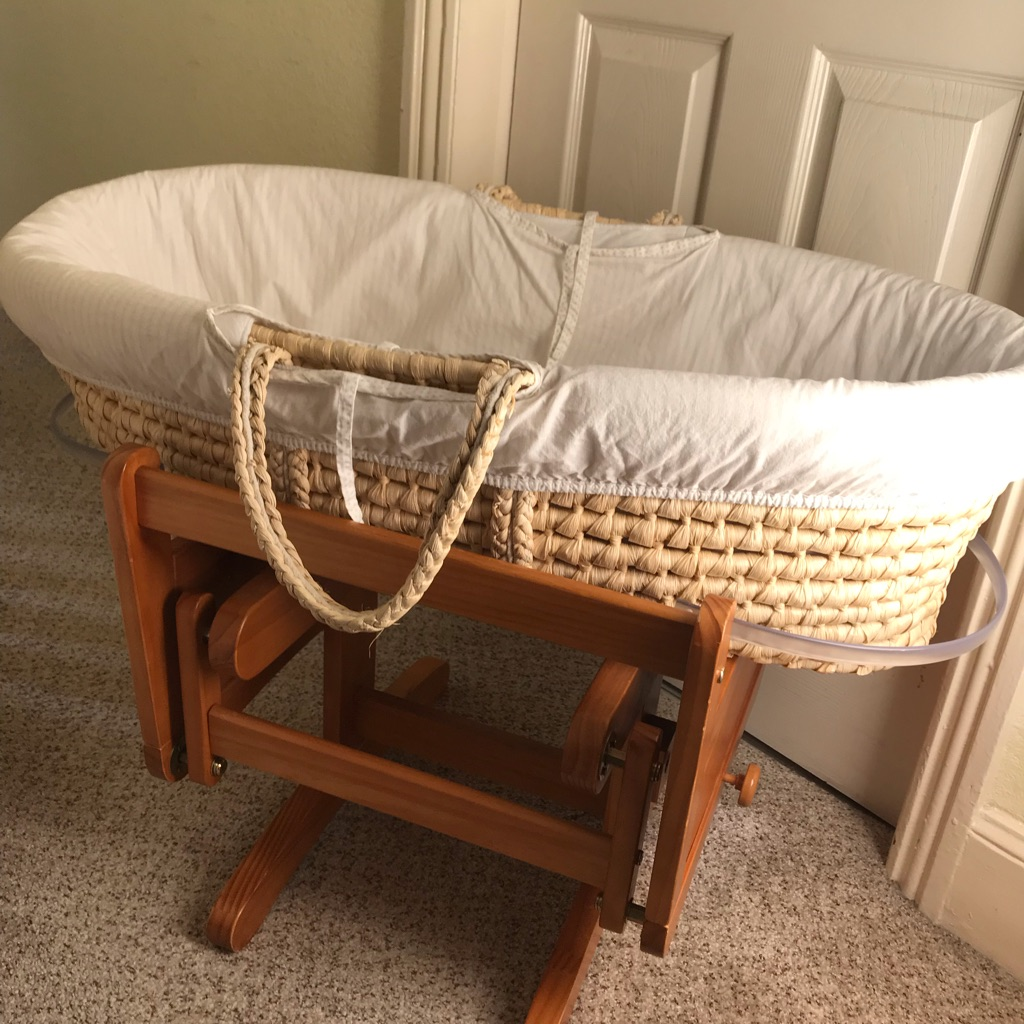 Moses basket and swinging wooden stand