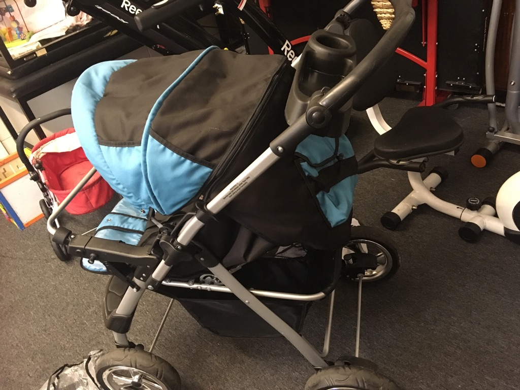 Blue pushchair