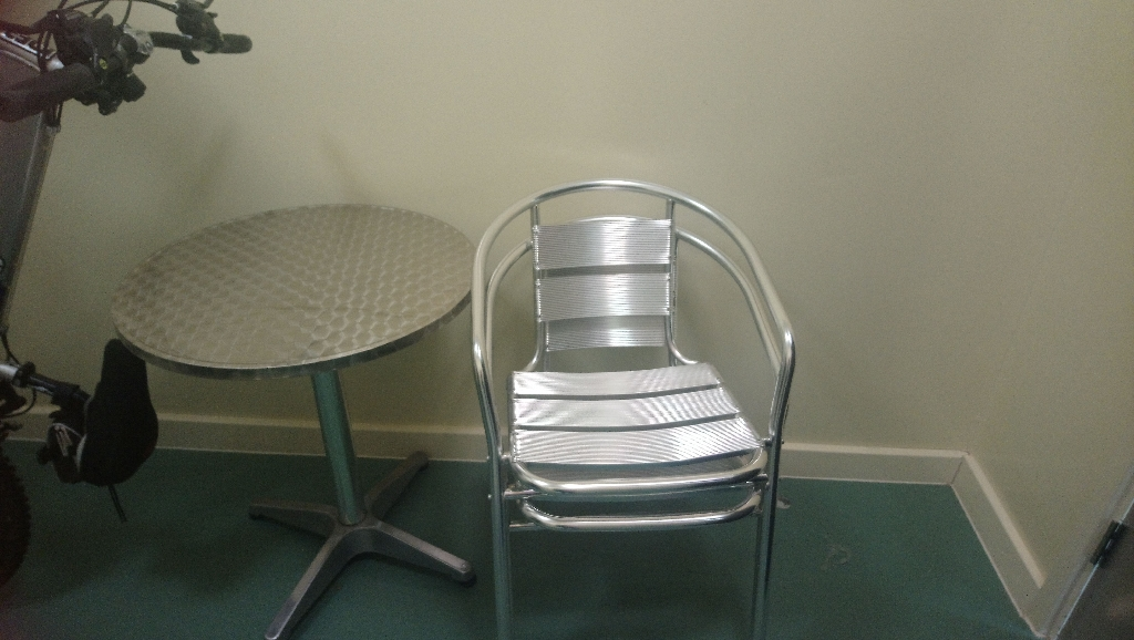 Stainless Steel Table and 2 Chairs