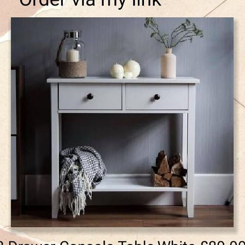 💥2 Drawer Console Table, White💥 £89.99 🚚Free delivery.
