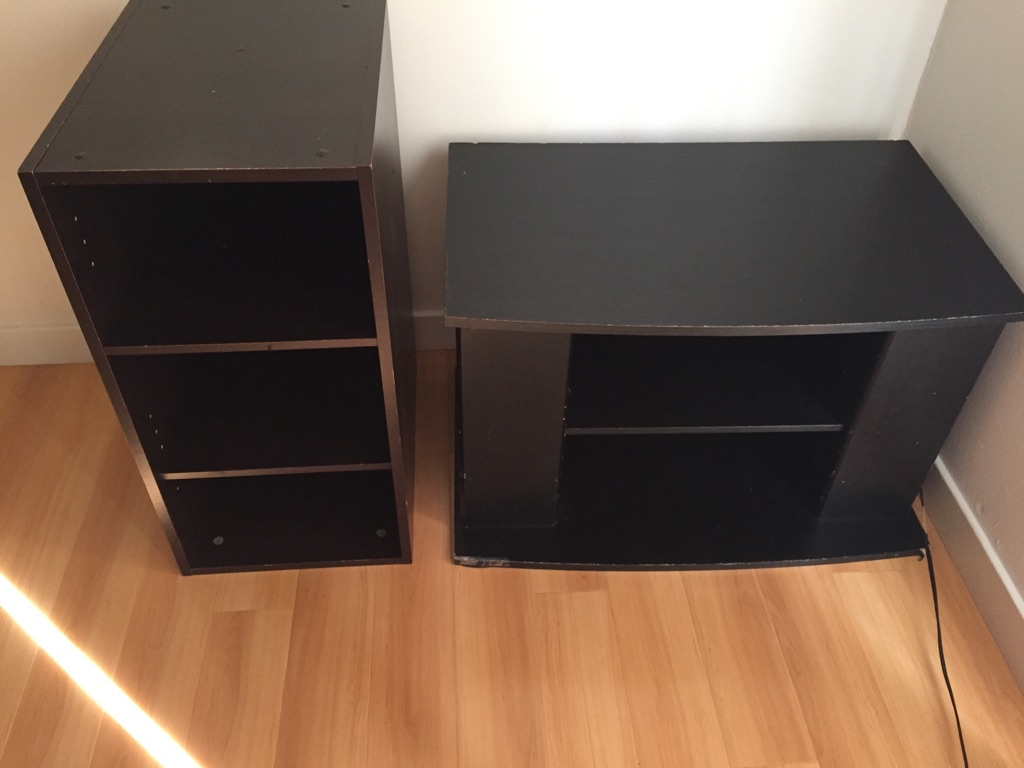 tv stand and book shelf