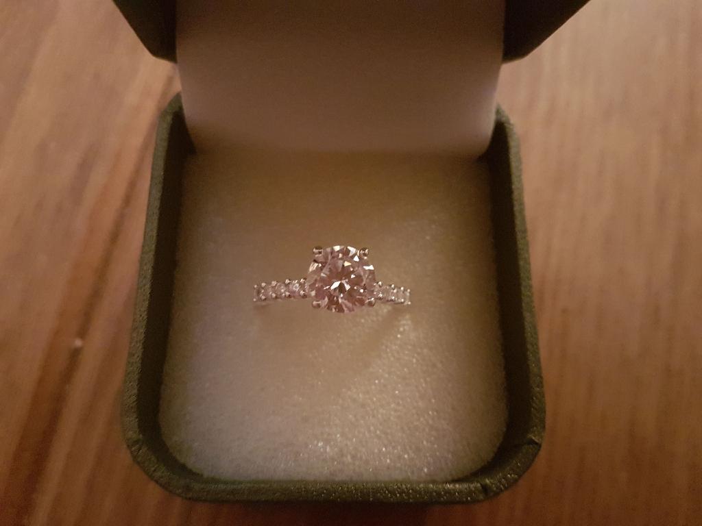Silver cubic zirconia diamond ring size P