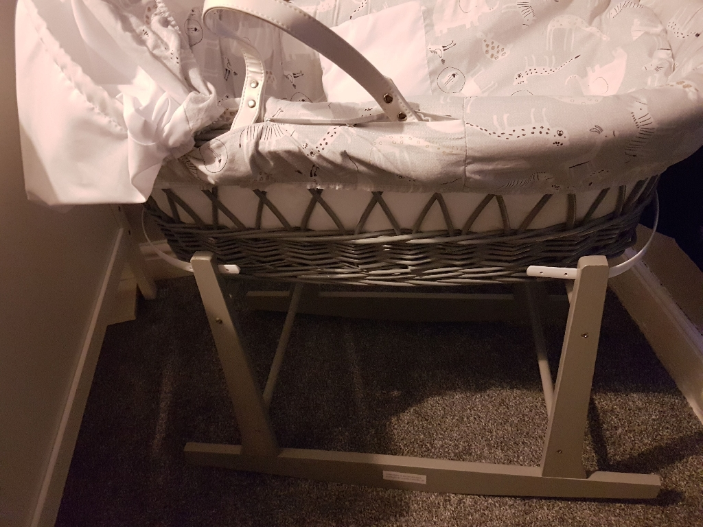 Grey Moses basket with stand