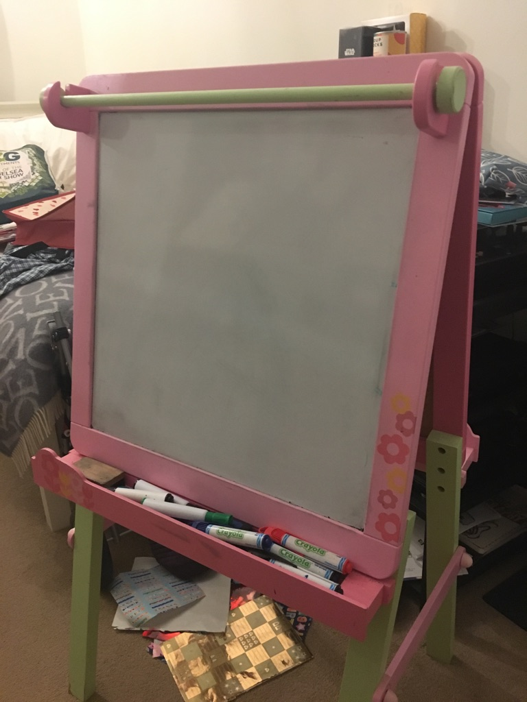 Child's pink blackboard & whiteboard