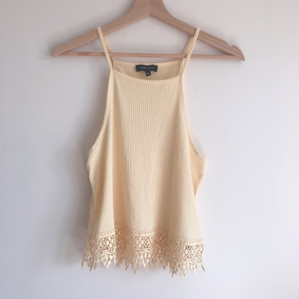 New Look Pastel Yellow Ribbed Crop Top with Crochet Hem