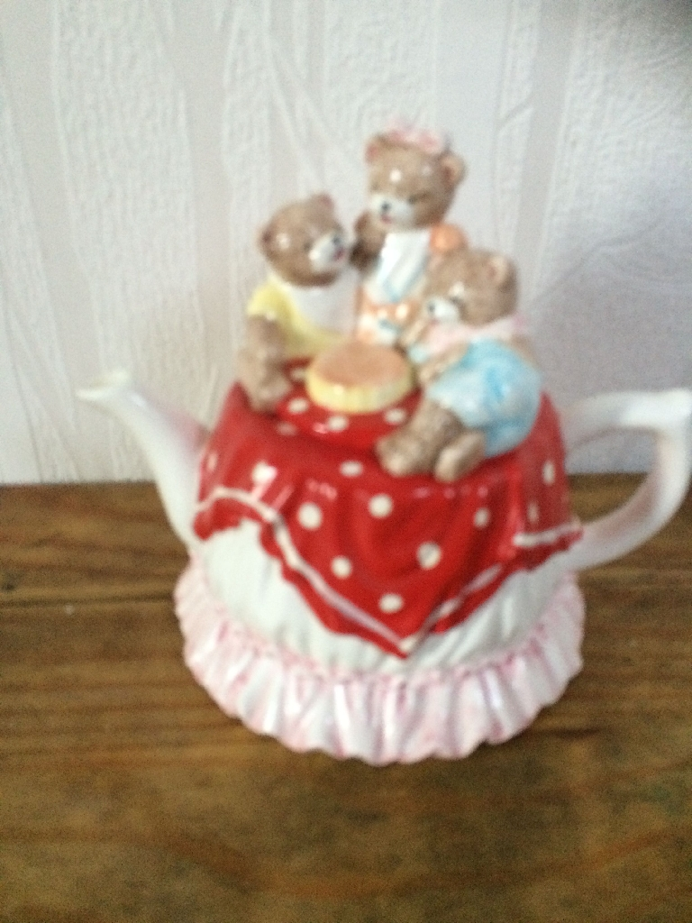 Teddy bears tea table tea pot