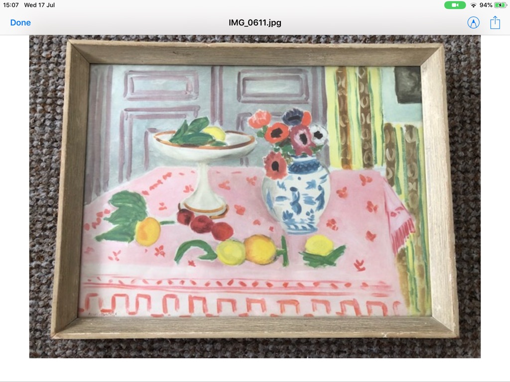 The Pink table cloth signed henri Matisse W39cm H29cm done in 1925