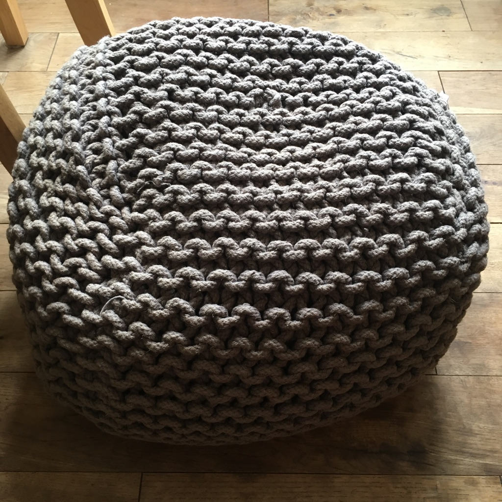 NEXT brown knitted pouffe