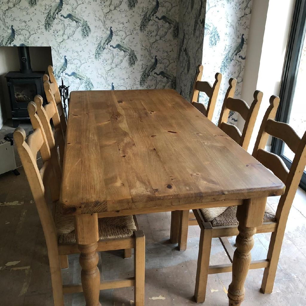 Solid hand waxed pine dining table