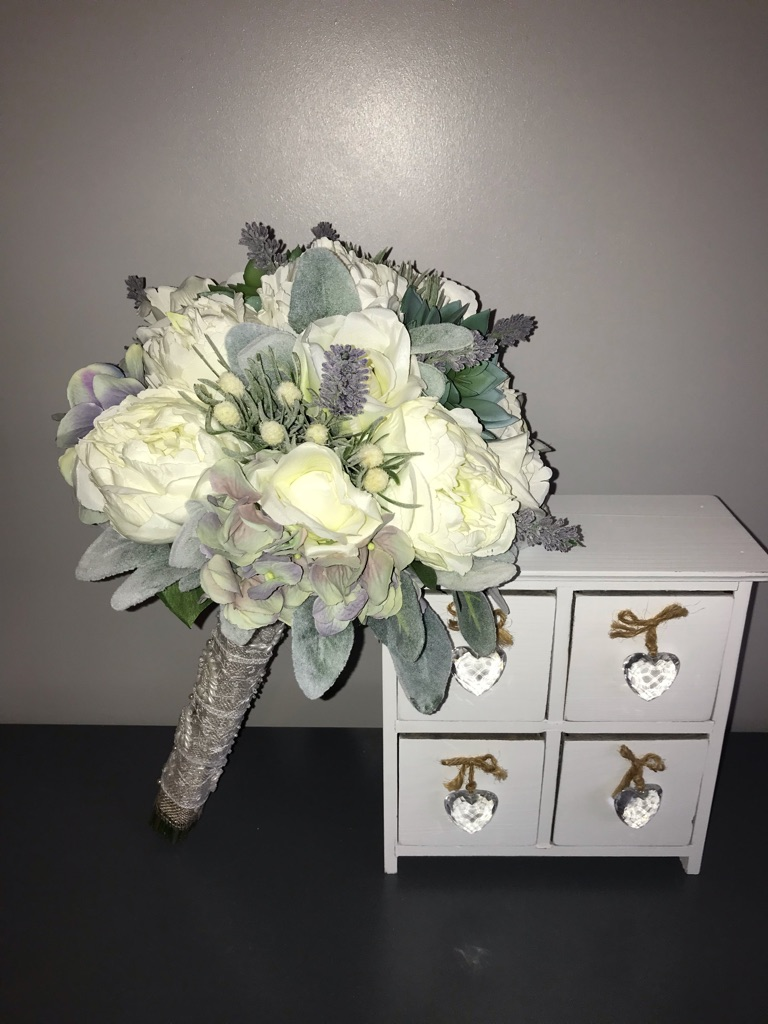 Bride's Post Bouquet Vintage Theme Ivory and Lavender