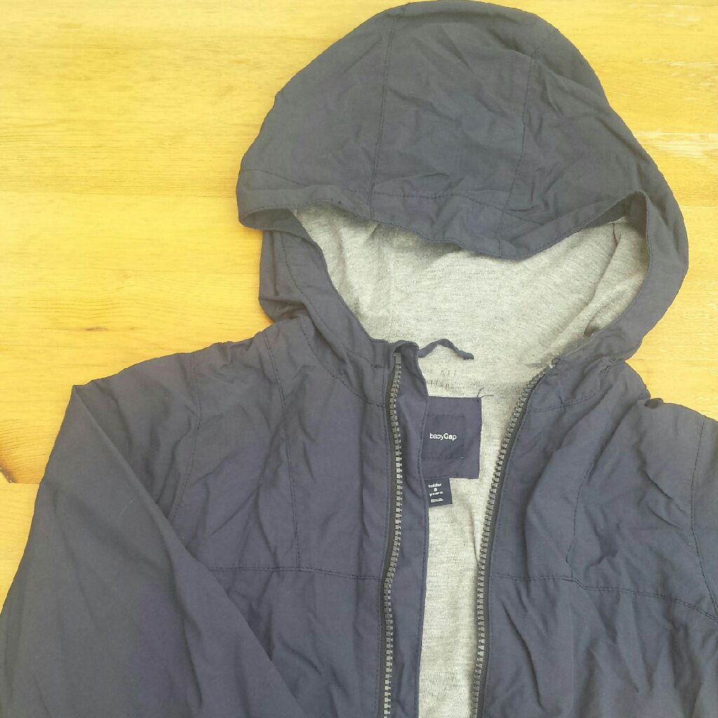 ae4824bc0ba35 Gap navy blue cotton lined rain jacket with hood 5 Years -110cm ...