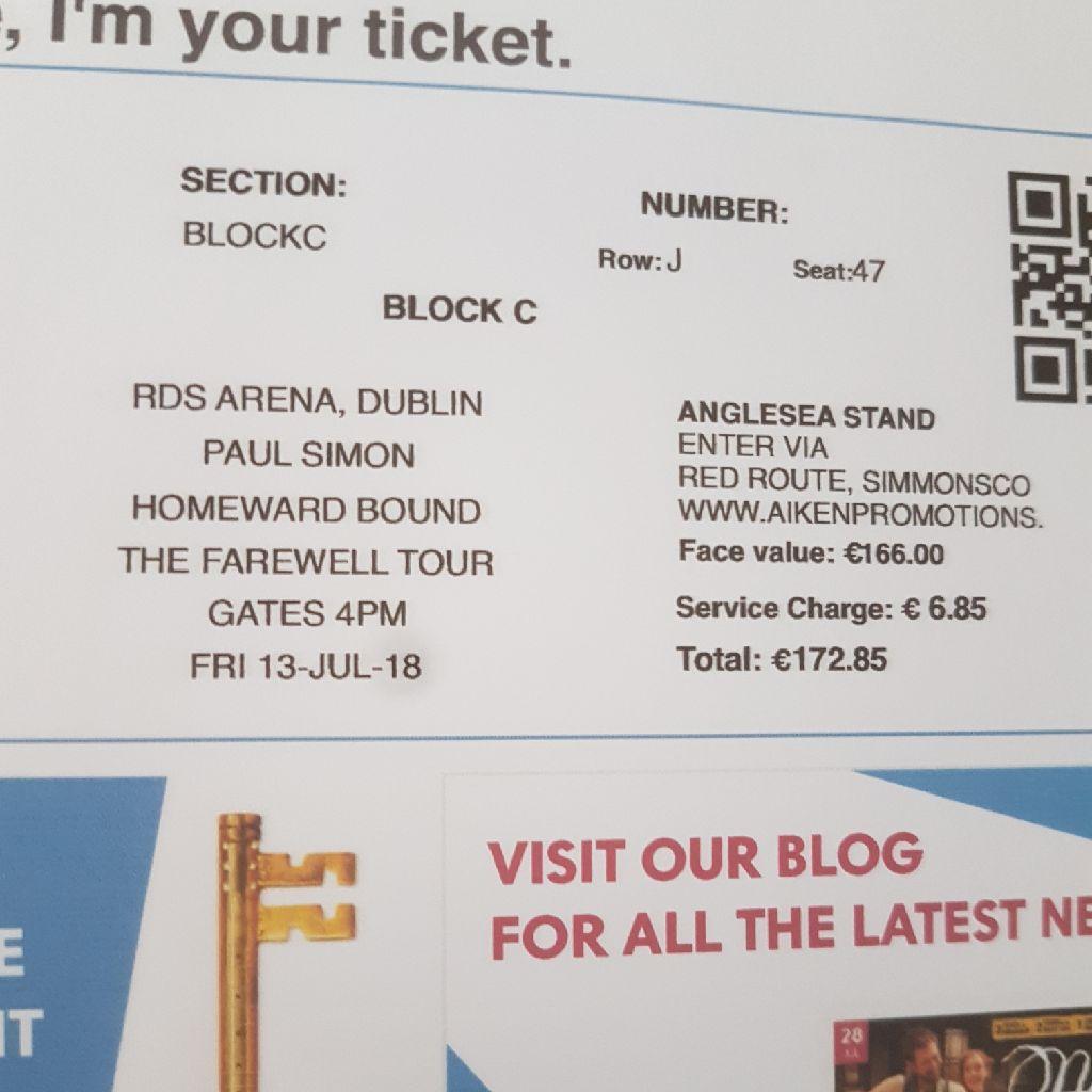 4 Paul Simon tickets Farewell Tour RDS Arena Dublin Friday 13th July