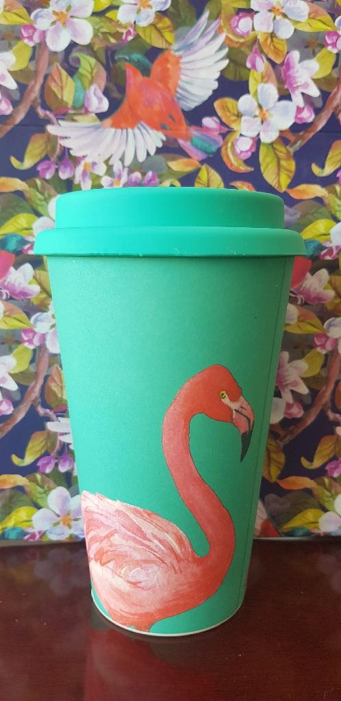 450ml Bird Bamboo Fibre Travel Mug Beaker Reusable Hot Drink Cup Tea Coffee Gift