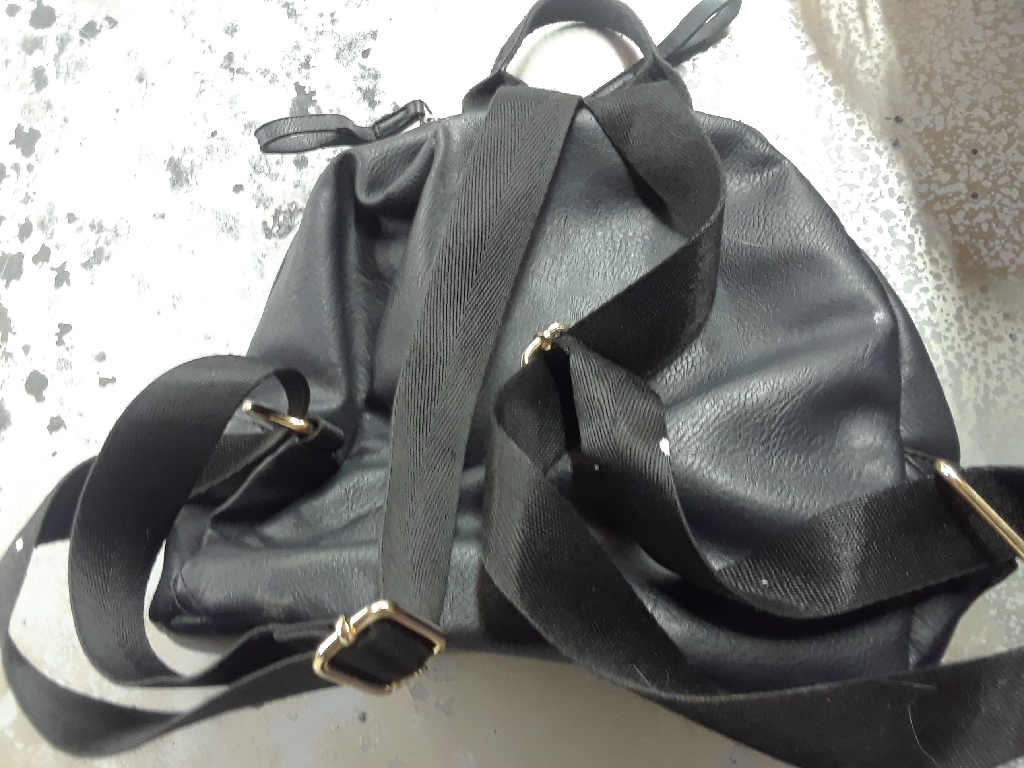 Mini. Leather black back pack