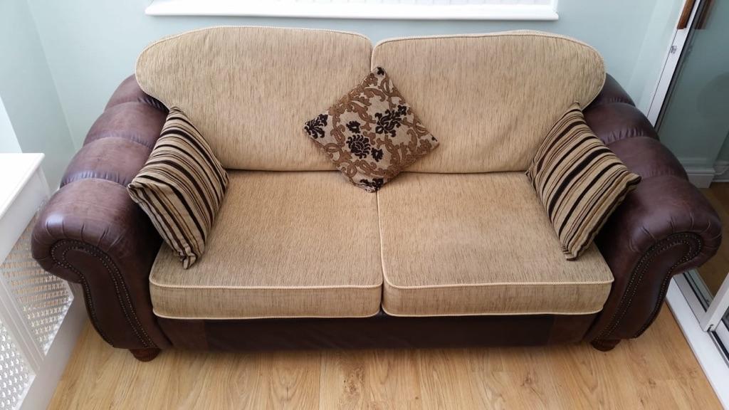 3 Seater Leather/Fabric Sofa