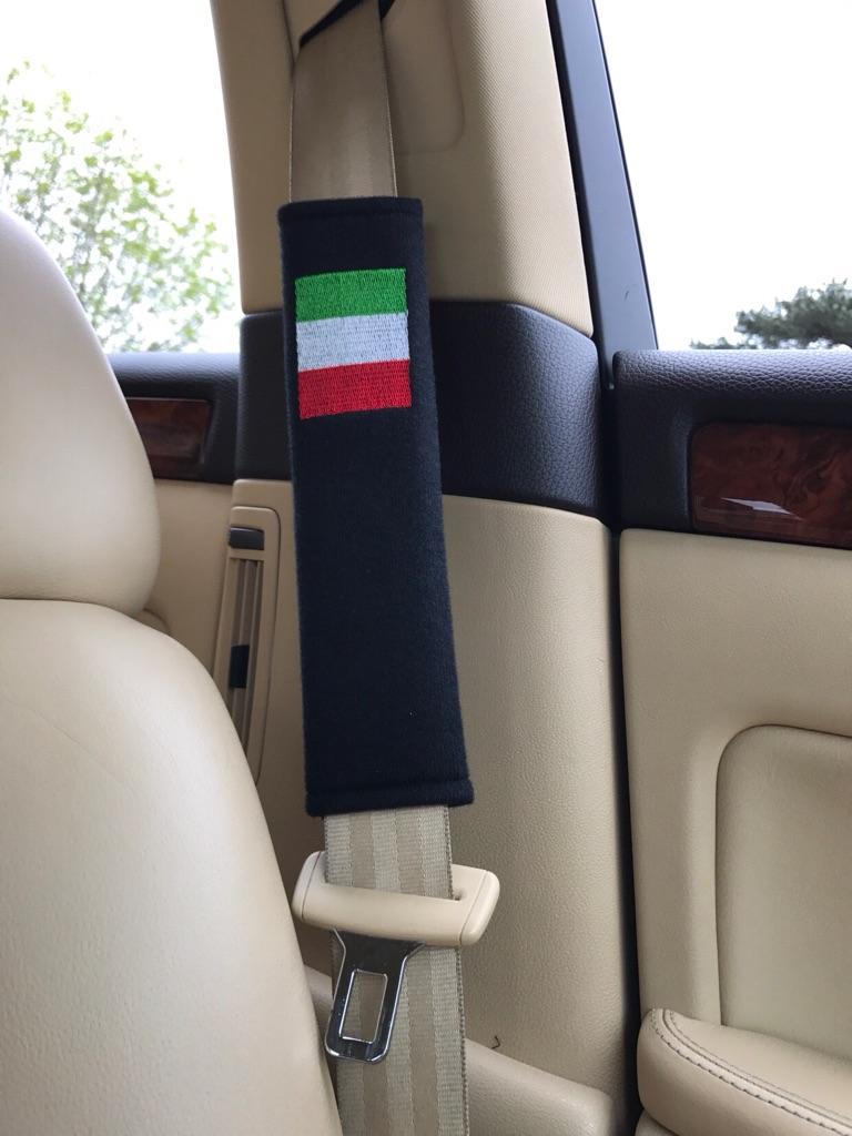 2X Seat Belt Pads Gift Italy Flag Flagge Bandiera Abarth Fiat Maserati Alfa Romeo