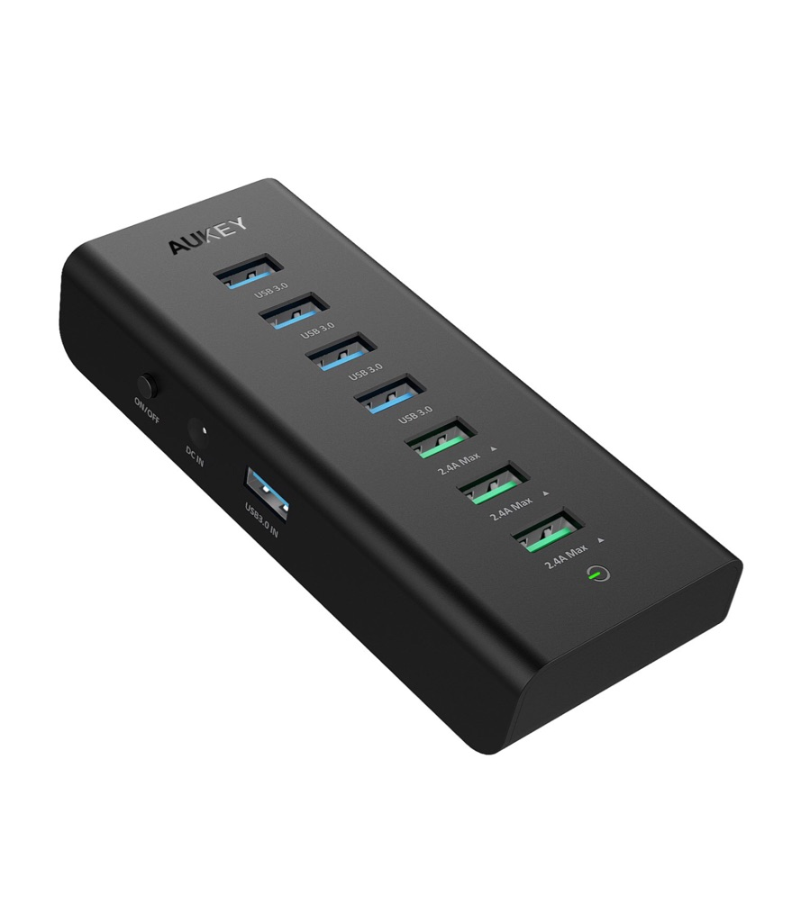 AUKEY USB Hub Powered Charging, 7 Port USB 3.0 Hub with 3 Charging Ports, 4 USB 3.0 Data Ports, 12V/3A Power Adapter, Power Switch for Laptop, PC, Mac, HDD Hard Drive (Black)
