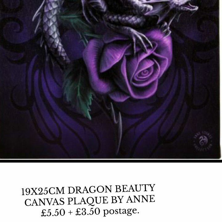 19X25CM DRAGON BEAUTY CANVAS PLAQUE BY ANNE STOKES🐲🌹
