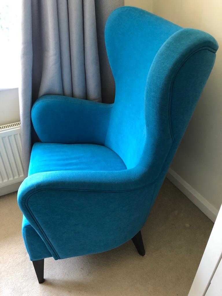 Blue modern wing back armchair- like new