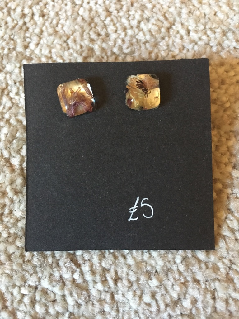 Handmade resin earring studs