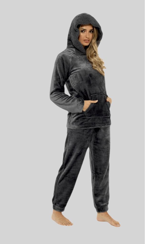 Charcoal Plush Fleece Hooded Pyjama Set