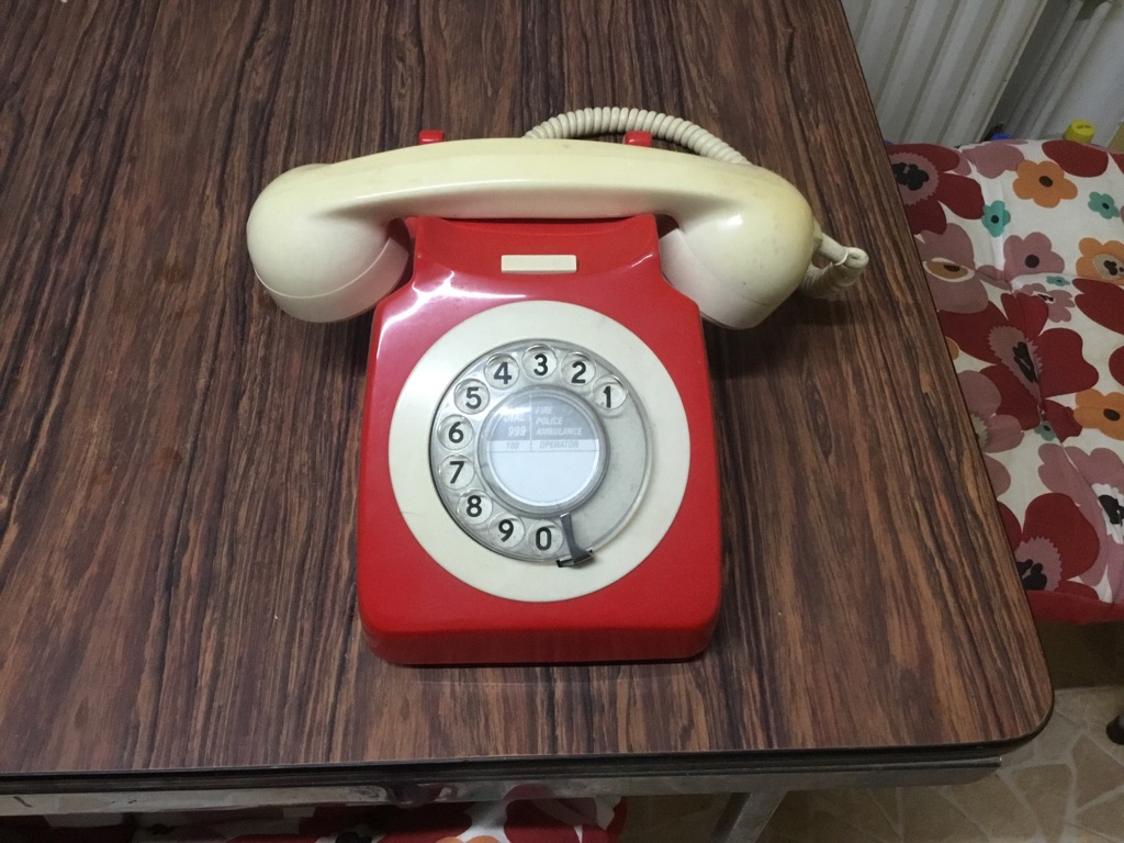 Vintage GPO 706 rotary dial telephone two tone red and cream