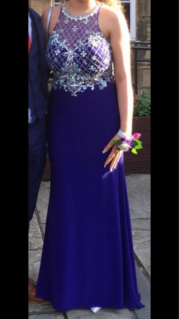 Navy blue two piece prom dress