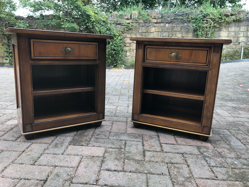 Two classic walnut bedside tables from 'And So To Bed'