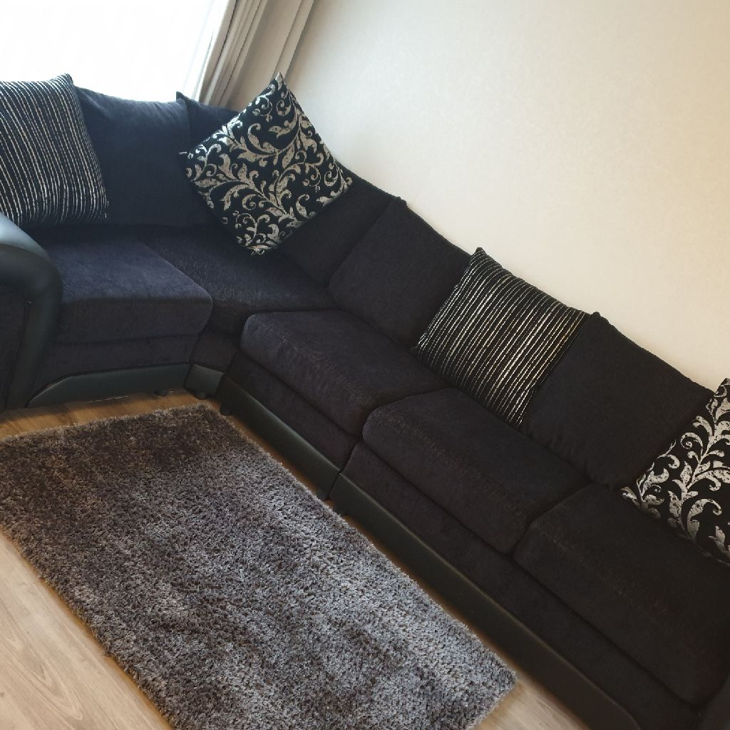 Black Fabric 5 Seat Corner Sofa