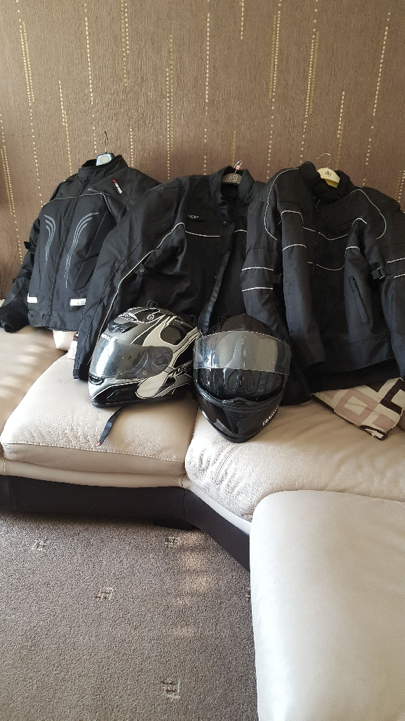 Biker jackets and helmets
