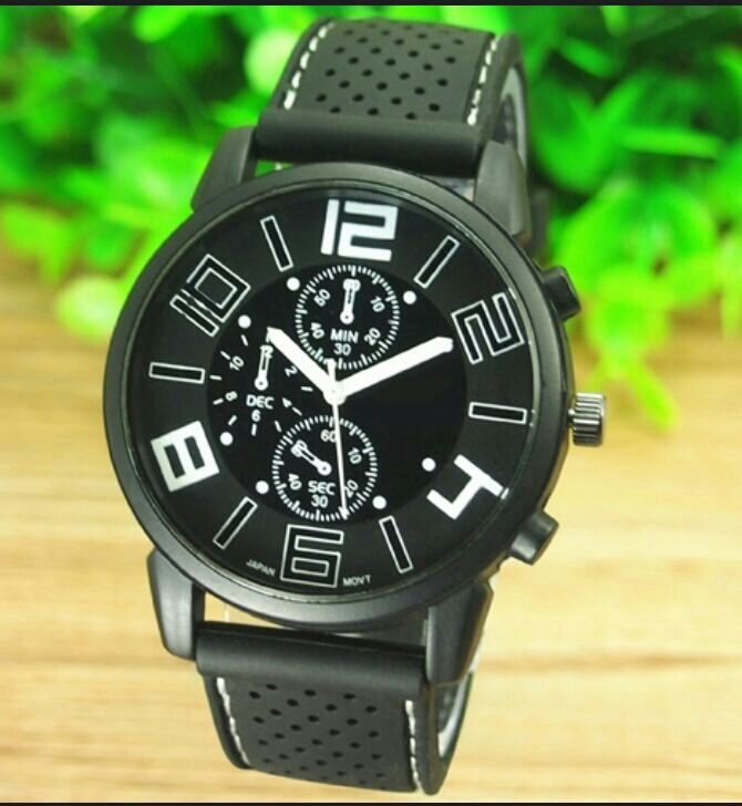 Casual Quartz analog silicone stainless steel dial sports wrist watch