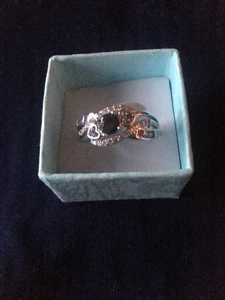 Silver 925 Stamped Rainbow Topaz Ring Size T New in Box
