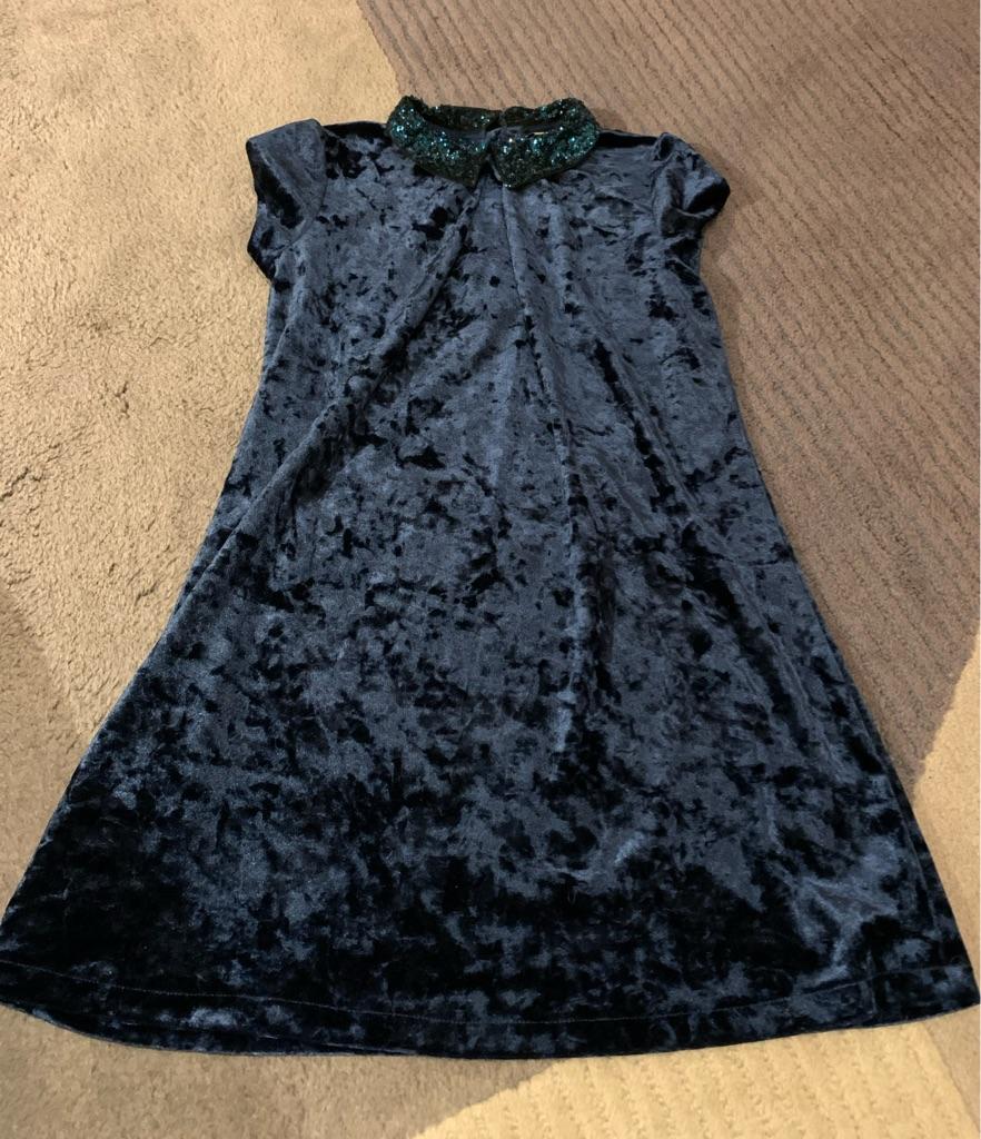 Girls Blue crush velvet dress 9 years