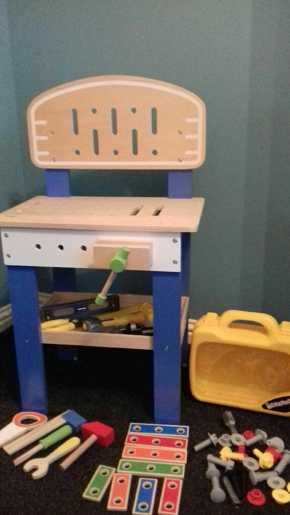 Childrens wooden workbench & tools