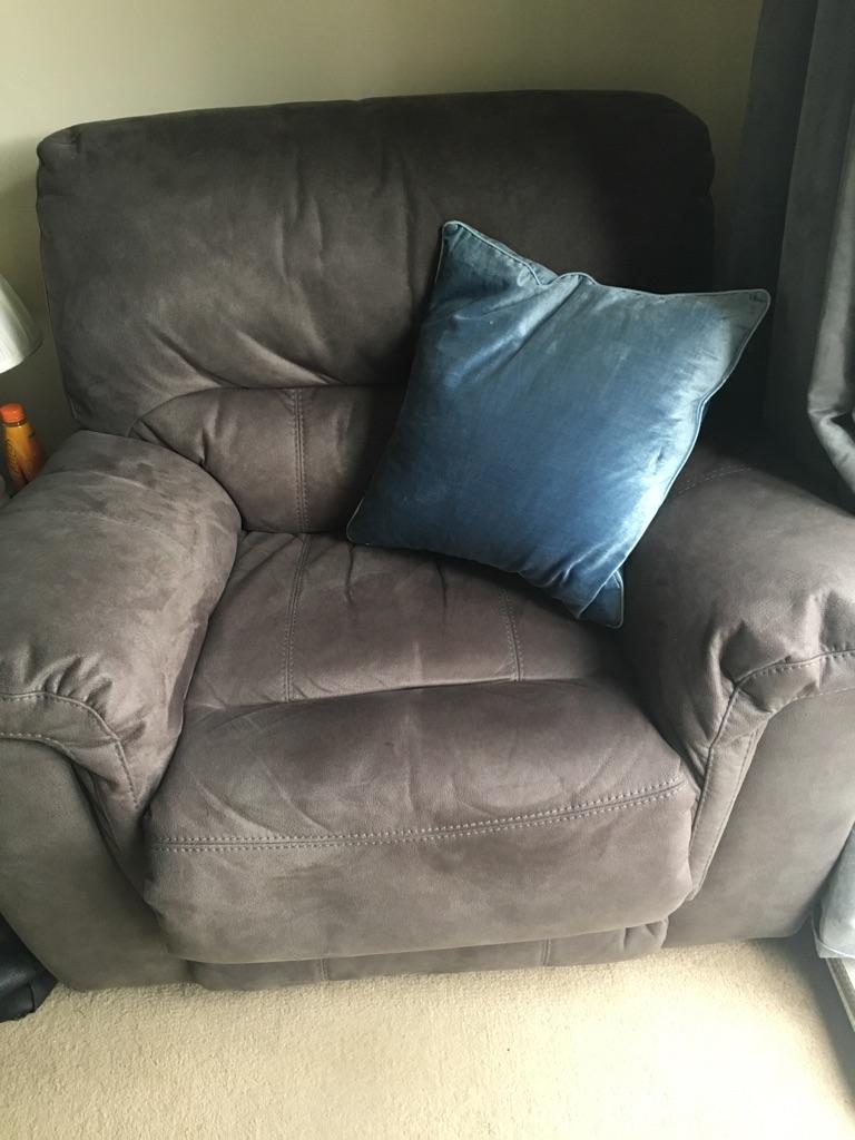 Large grey suede effect DFS corner sofa