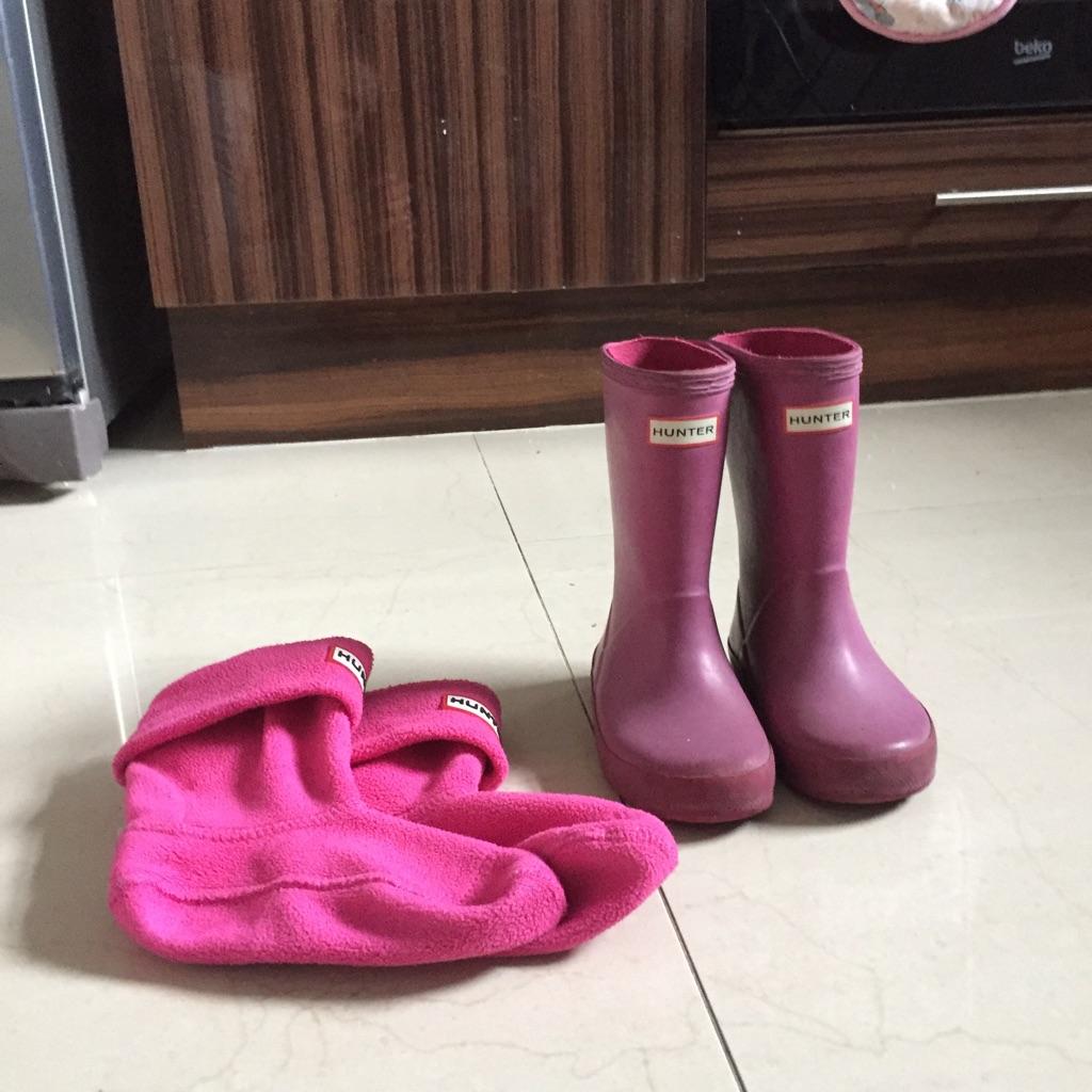 Pink Hunter Wellies Kids size 8
