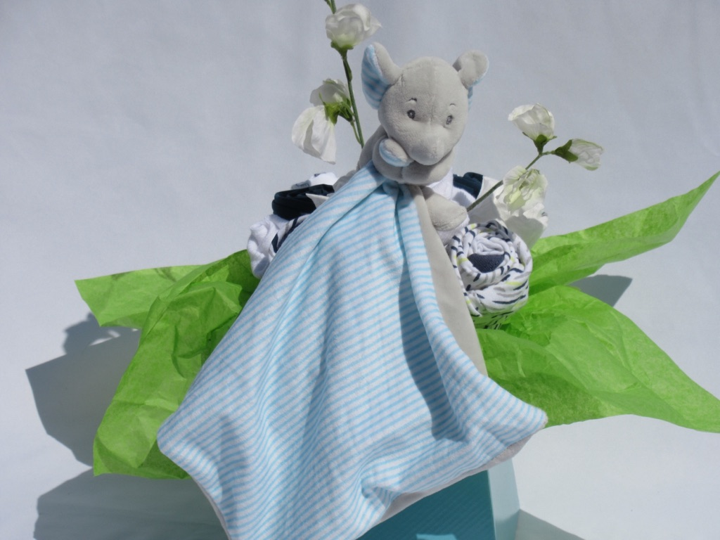 Baby boys baby bouquet - personalise embroidered with baby & surname