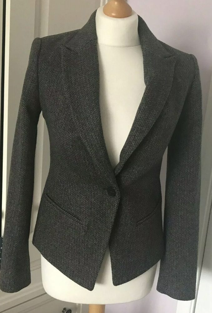 All Saints Italian Cloth Canonbury Jacket Wool Rich Tweed Fitted Blazer UK 8