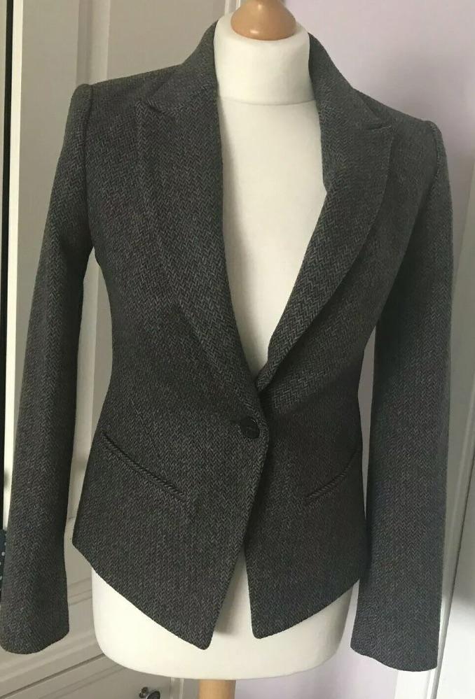 All Saints Italian Cloth Canonbury Jacket Wool Rich Tweed Fitted Blazer UK 8