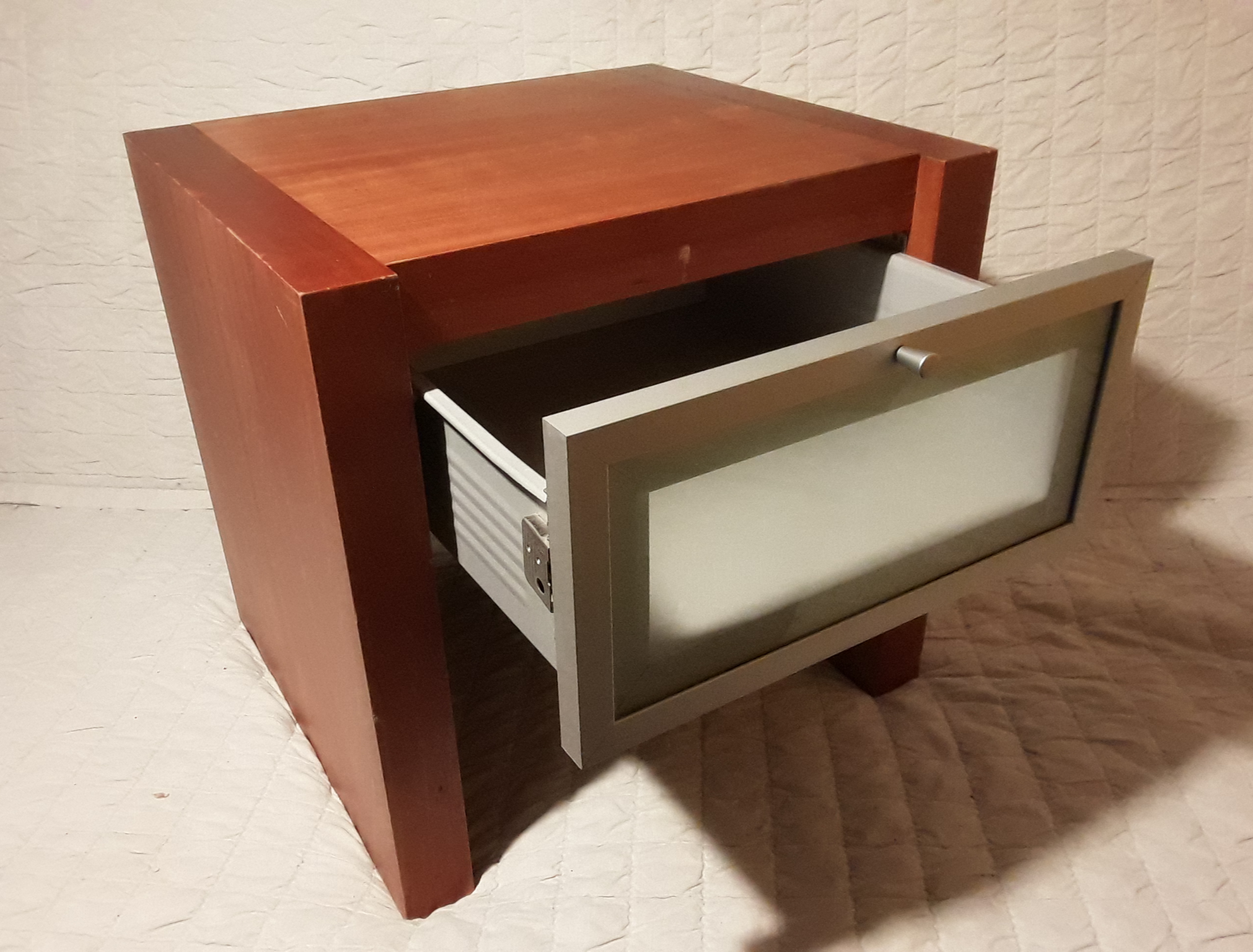HEAVY BEDSIDE TABLE OAK/METAL w FROSTED GLASS EFFECT DRAWER **FREE DELIVERY IN LONDON**