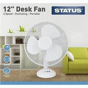 """Status 12"""" Desk Fan, 3 Speed Settings, White"""