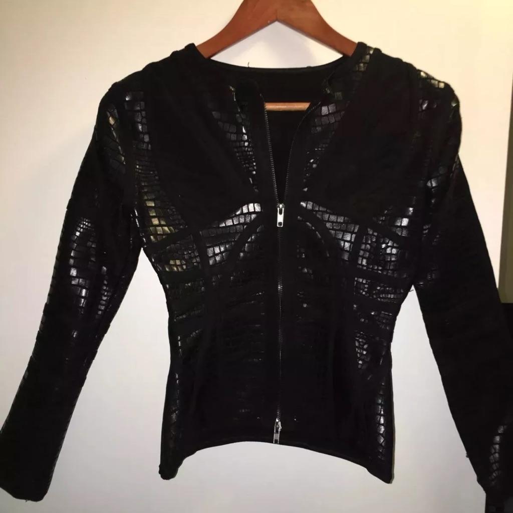 Black Snakeskin effect Bandage Jacket XS 8-10