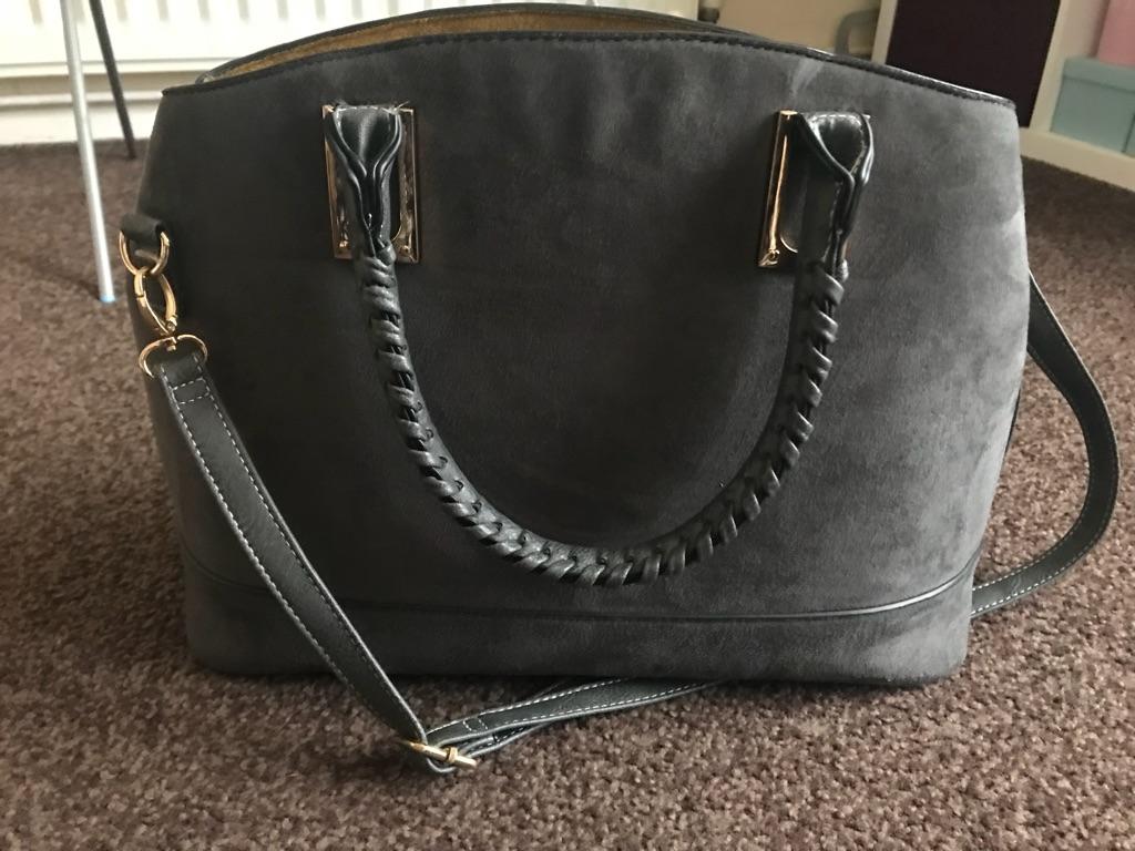 Grey faux suede handbag