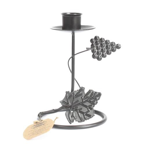 Iron candle holder- single stick grape vine