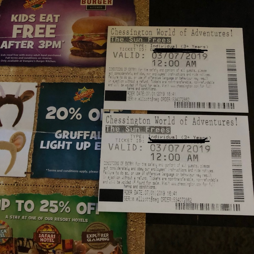 2 tickets for Chessington world of adventures