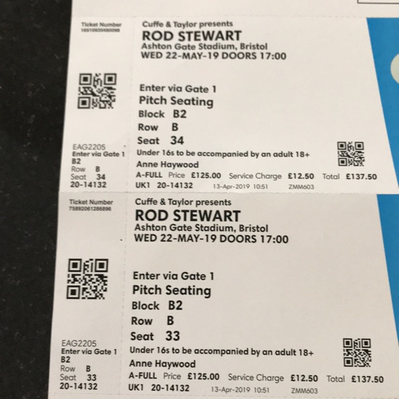 2 no. Rod Stewart tickets 22nd May 2019 Bristol