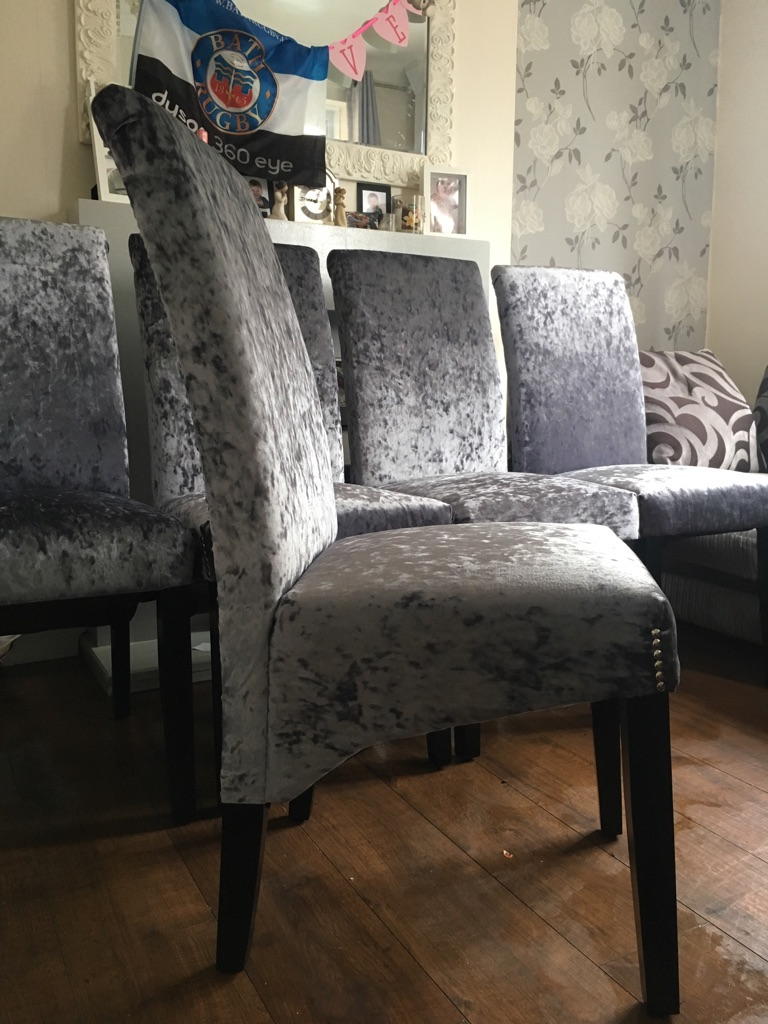 Set of six slate grey crushed velvet chairs
