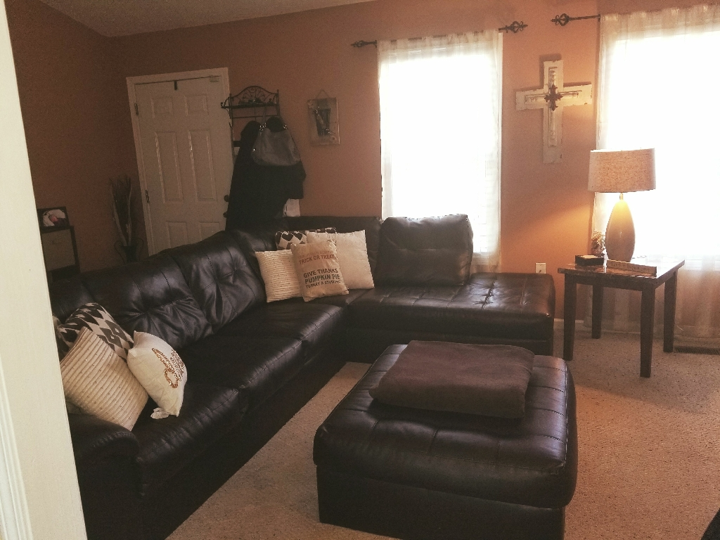 Dark brown leather couch with ottoman