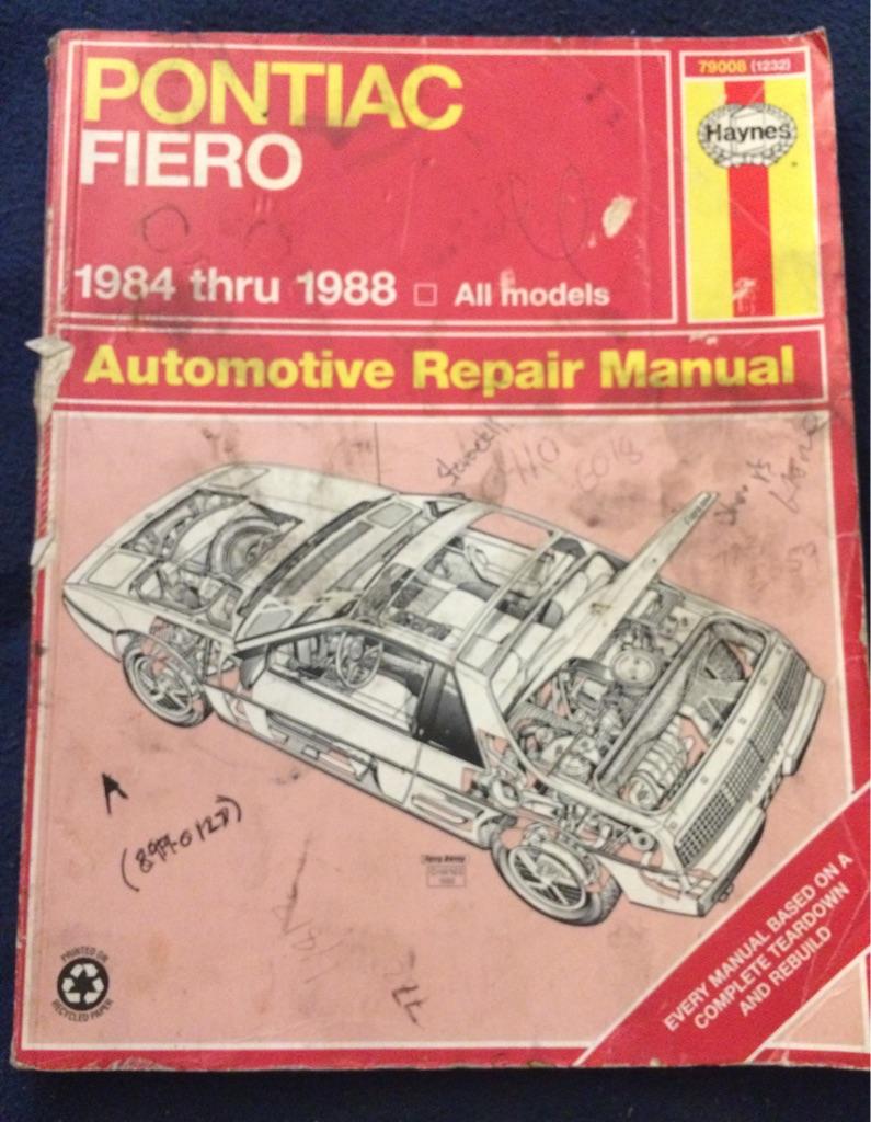 Pontiac Fiero 1984 thru 1988 Automotive Manual